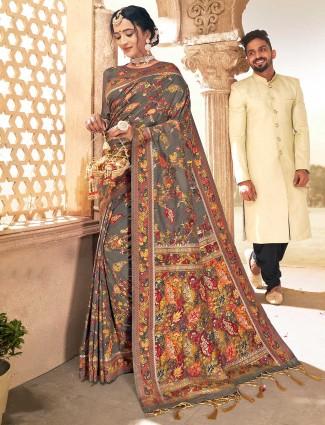 Grey banarasi silk saree for wedding with thread weaving