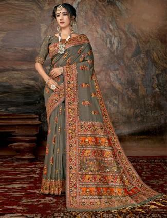 Grey banarasi silk saree wedding wear