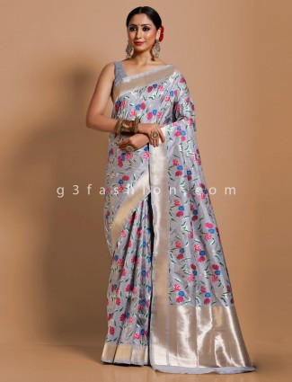 Grey banarasi silk wedding occasion saree