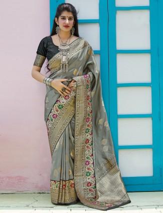 Grey banarasi silk zari weaving buttis saree