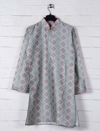 Grey bandhej print cotton kurta suit