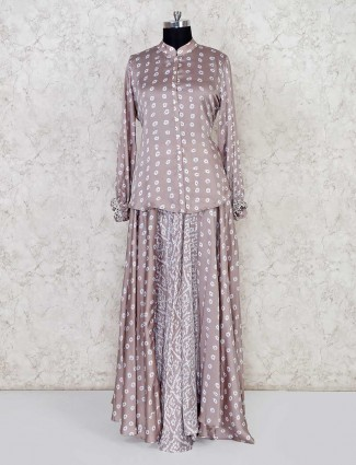 Grey bandhej printed lehenga style salwar suit in cotton silk