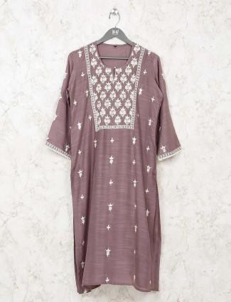 Grey casual cotton kurti in u neck