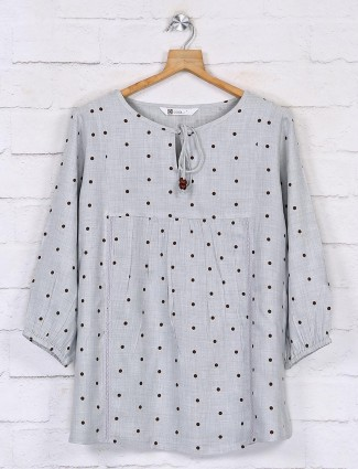 Grey casual cotton tops for women