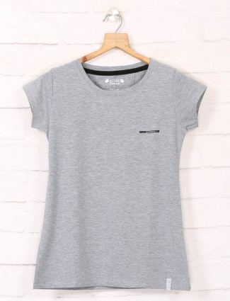 Grey casual cotton tshirt with round neck