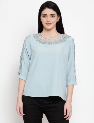 Grey casual top in cotton with net pattern neckline