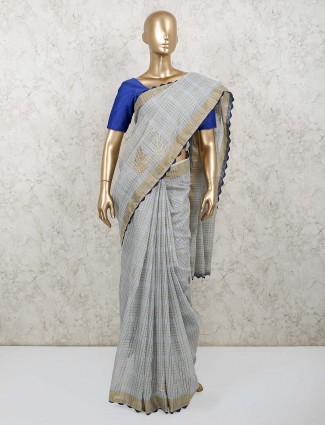 Grey chanderi cotton saree for festive