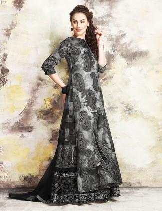 Grey chanderi silk indo western