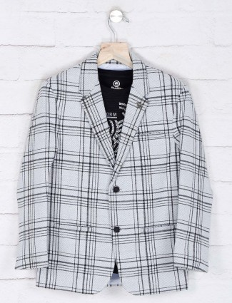 Grey checks patern terry rayon blazer
