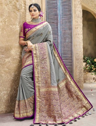 Grey color banarasi silk wedding saree