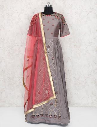 Grey color cotton silk floor length anarkali salwar suit
