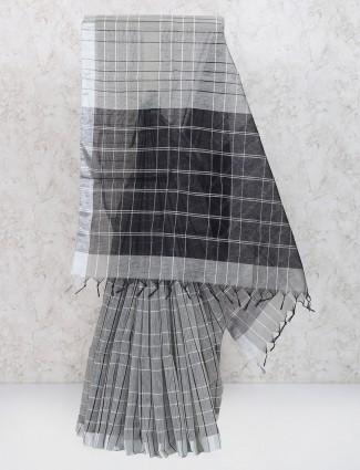 Grey color cotton silk saree