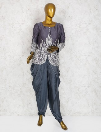Grey color dhoti suit in raw silk