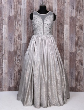 Grey color silk gown for reception
