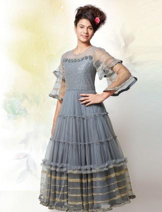 Grey color festive wear net gown for girls
