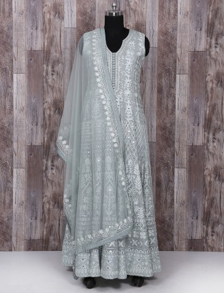 Grey color georgette anarkali suit