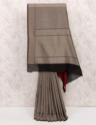 Grey color hue cotton silk saree
