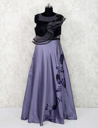 Grey color hue party wear gown