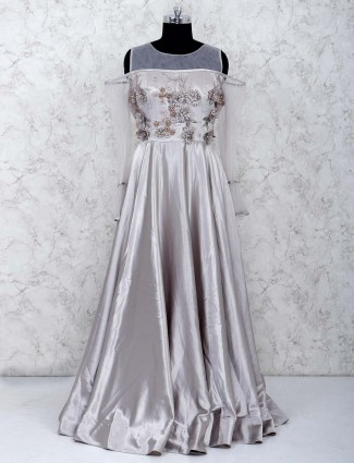Grey color hue party wear satin gown