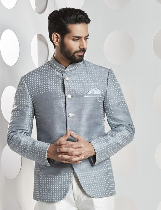 Grey color jodhpuri party wear suit