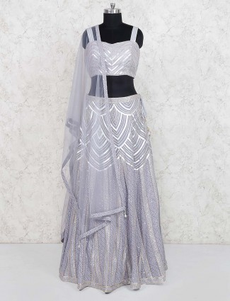 Grey color lehenga choli in georgette