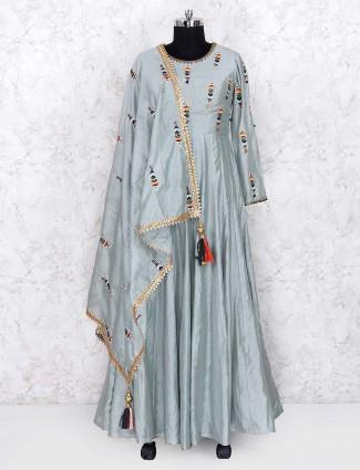 Grey color lovely silk fabric floor length anarkali salwar suit