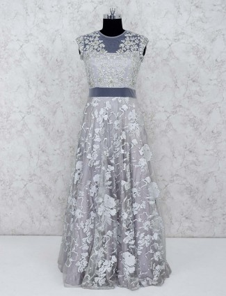 Grey color net party gown