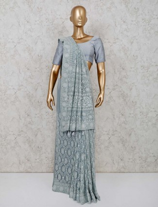 Grey color party saree in lucknowi georgette