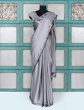 Grey color party wear satin fabric saree with ready made blouse