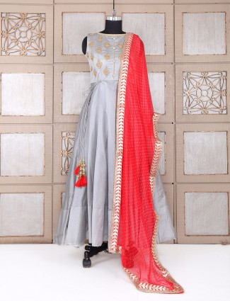 Grey color party wear silk anarkali suit