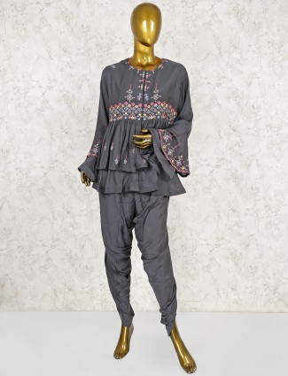 Grey color peplum dhoti suit in cotton