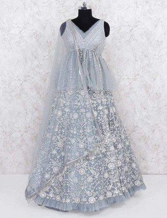 Grey color peplum style party lehenga choli