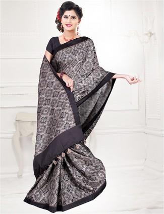 Grey color printed cotton saree
