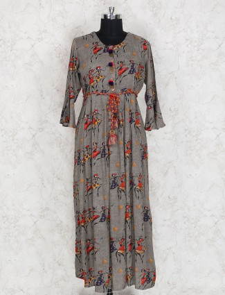 Grey color printed pattern cotton kurti