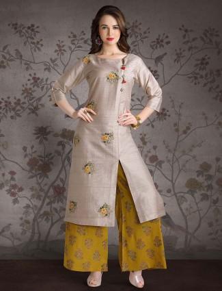 Grey color punjabi palazzo suit in cotton