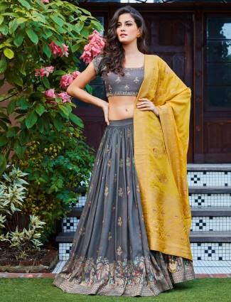 Grey color raw silk festive wear lehenga choli