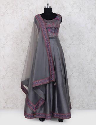 Grey color raw silk floor length anarkali suit