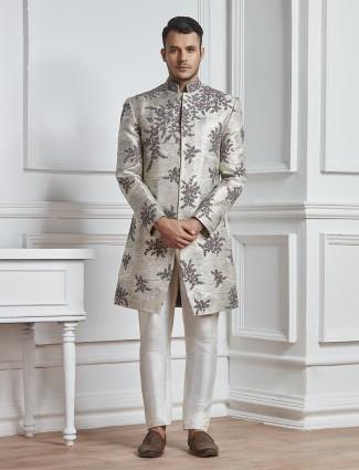 Grey color raw silk indo western