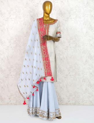 Grey color raw silk punjabi sharara suit
