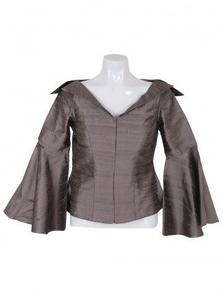 Grey color raw silk ready made blouse