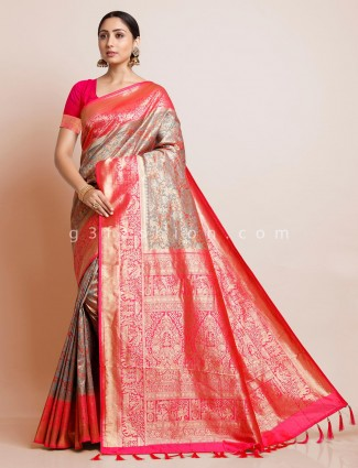 Grey color saree design in banarasi silk
