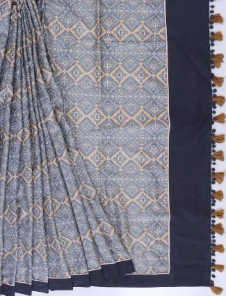 Grey color saree in cotton fabric