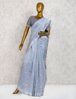 Grey color saree in pure silk