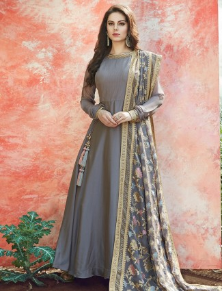 Grey color satin silk anarkali suit