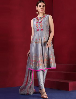 Grey color silk festive salwar suit