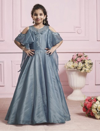 Grey color silk gown for girls