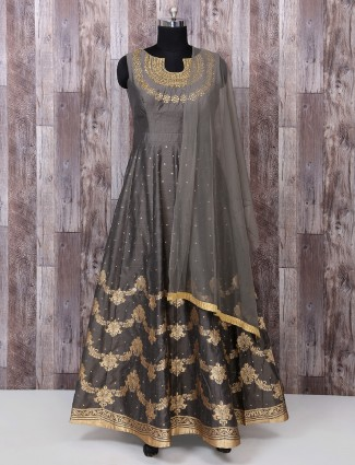 Grey color silk simple anarkali suit for festive function