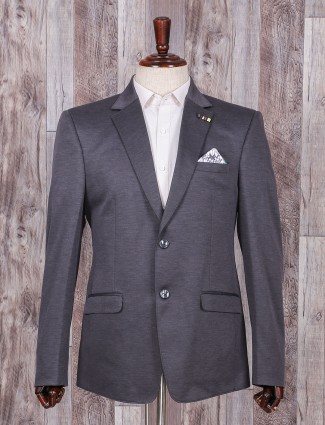 Grey color solid blazer