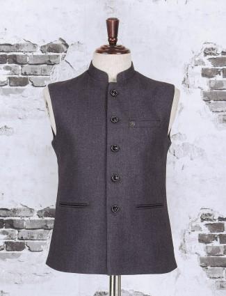 Grey color solid waistcoat