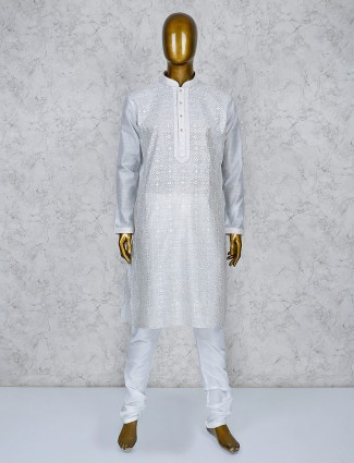 Grey color thread work cotton silk kurta suit